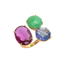 Multi Gemstone Big Gold Plated Rings
