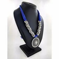 Oxidized Ghunghru Blue Thread Necklace