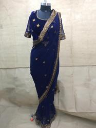 Hand Embroidery Saree Beaded And Thread Work