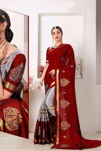 8b1e9fd9b5e8f Cotton Silk Saree With Zari Butta Border