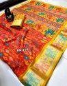 Pure Chanderi Linen Ikhat Silk Saree