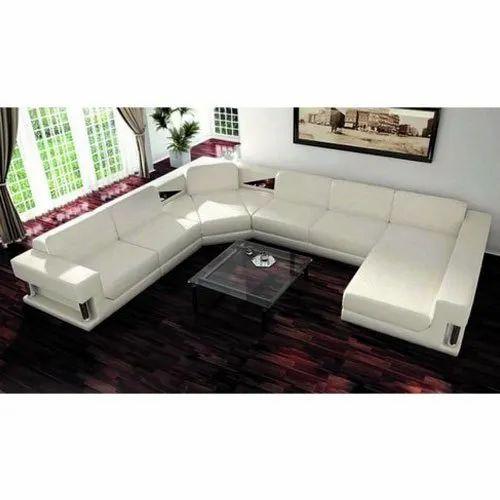 White Leather U Shaped Sofa Rs 39999