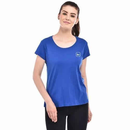cd9dcd1d3df6 Plain Half Sleeve Royal Blue Girls Cotton T-Shirt, Rs 150 /piece ...