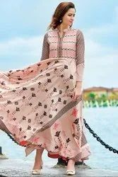 Blush Peach Digital Print Flared Gown
