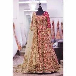 Stitched Silk Ladies Party Wear Anarkali Suit