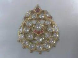 Gold Natural Uncut Diamond Polki Jadau Maang Tikka