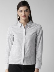 Plain White Concealed Placket Striped Shirt