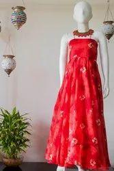 Olesia Printed With Lining Red Rawsilk Floor Length Dress