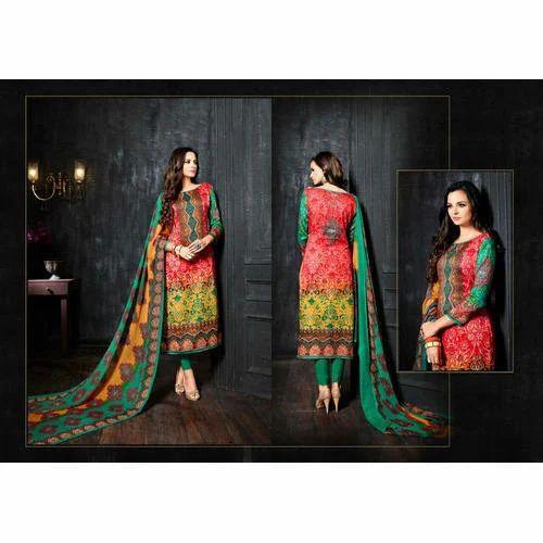 147f854d69 Multicolor Party Wear Designer Cotton Printed Churidar Suit, Rs 1500 ...