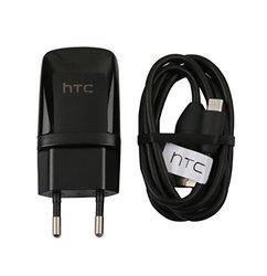 Black HTC Charger With USB Data Cable