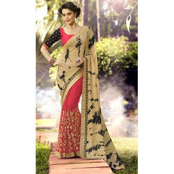Ladies Chiffon and Net Party Wear Saree, Length: 6 m