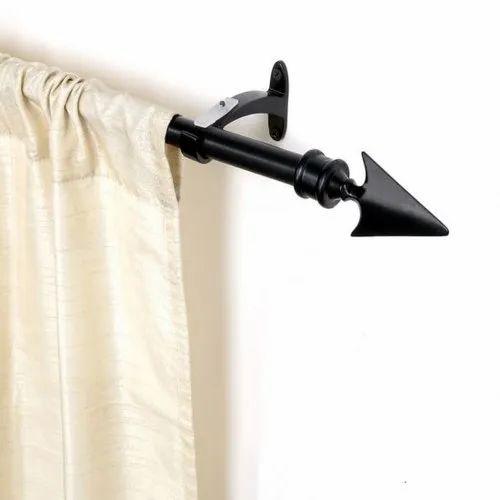 66-120 Inch Black Matt Flat Arrow Curtain Rod