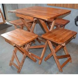 Brown Wooden Folding Table Chair, For Restaurant