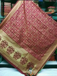 VRA TRENDZ Jacquard Banarasi Silk Bandhni Style Saree, Machine Made, 6.3 m (with blouse piece)