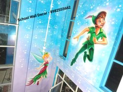 Cartoon Wall Painting In School