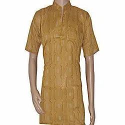 Casual Wear Embroidered Mens Half Sleeves Cotton Kurta, Size: 40 - 42