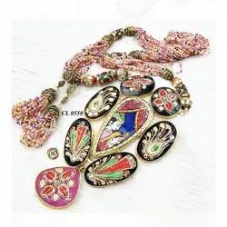 CL Code Radha Krishna Long Tanjore Handpainting Traditional Fashion Jewellery Necklace
