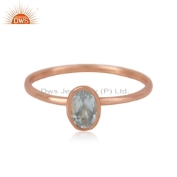 Designer Rose Gold Plated Silver Blue Topaz Gemstone Ring