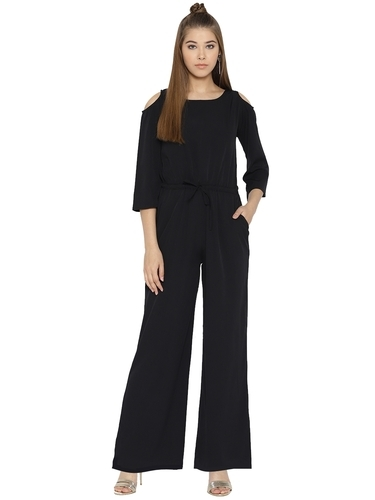 d408d814e4d Women Polyester Round Neck Plain Black Jumpsuit