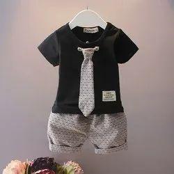 Cotton Wedding Wear Kids Designer T Shirt & Short Set, Age: 3 to 5 Years