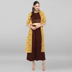 Yellow Poly Crepe Top With Palazzo And Jacket(SET107)