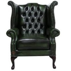 Astonishing Green Leather Wing Chair Camellatalisay Diy Chair Ideas Camellatalisaycom
