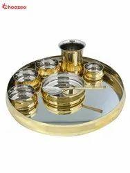 Brass / Steel Dinner Set (Curved) - 8 Pcs