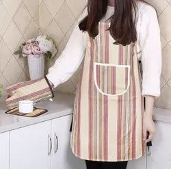 Striped Cotton Kitchen Apron, Glove, and Potholder Set
