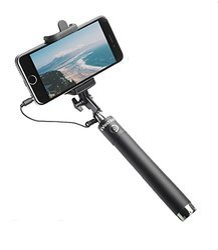 Black Ivoltaa Next Gen Compact Selfie Stick Wired For IPhone
