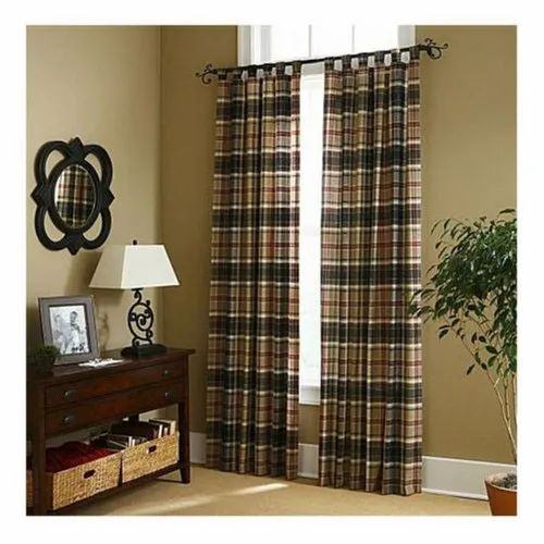 Checked Cotton Curtain, Size: 6-7 Feet Height