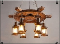 Wooden Ship Wheel Hanging Light