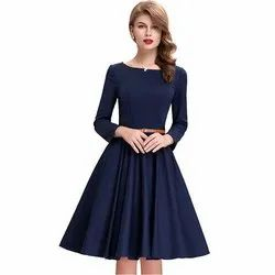 Blue Fit and Flare Western Dress