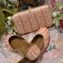 Pink Embroidery Punjabi Jutti with matching clutches