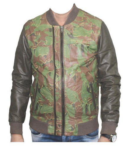3b73a76f0 Hidecart Army Printed Leather Jacket