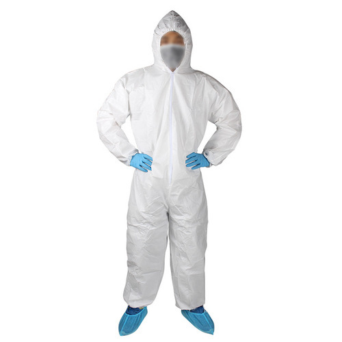 Medium And Free Size White And Blue Disposable Coveralls, | ID: 9110181012