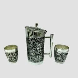 Carved Silver Jug Set