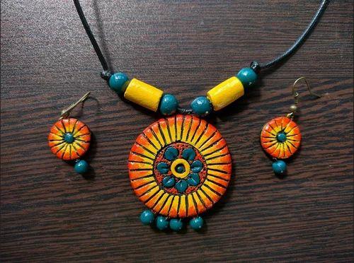 Yellow, Orange Terracotta Jewellery Necklace Set, Rs 450 /set | ID:  17969806762