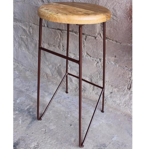 Vintage Iron Rod And Wood Top Bar Counter Stools
