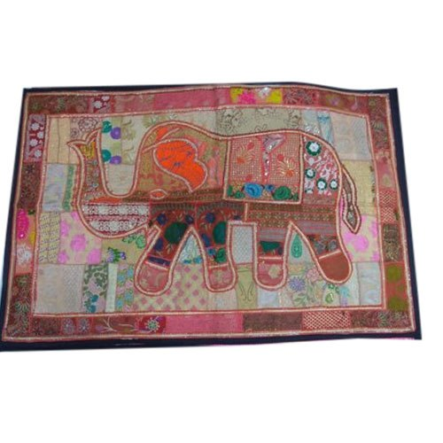Multicolor Cotton Embroidery Elephant Wall Hanging, for Home