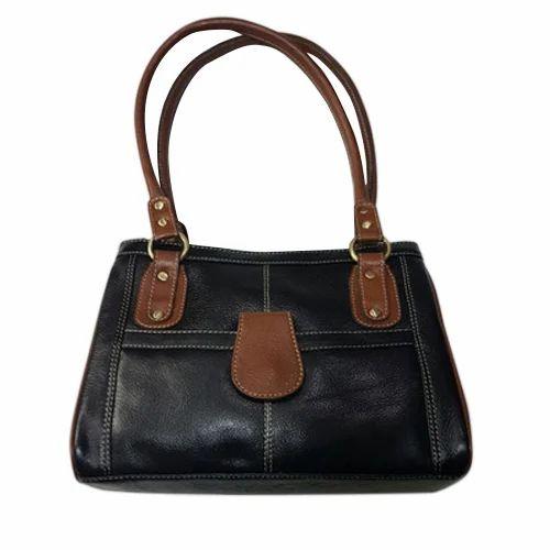 1406051147c6 Black And Brown JK Ladies Leather Handbag