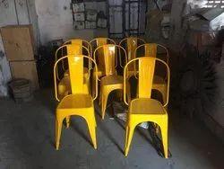Rakshit yellow Cafe Metal Chair, Size: Standerd