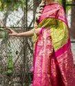 Pink, Light Green Wedding Wear Ikkat Jacquard Silk Saree With Blouse Piece, Length: 6.5 Meter