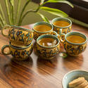 Exclusivelane 'celebration In Sand' Warli Hand-painted Tea & Coffee Cups In Ceramic (set Of 6)