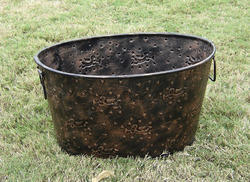 Antique Oval Iron Planter, Size: 18x6 Inch