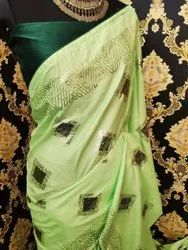 Foil -work Party Wear Dolla Silk Sarees, With blouse piece, 5.5 m (separate blouse piece)