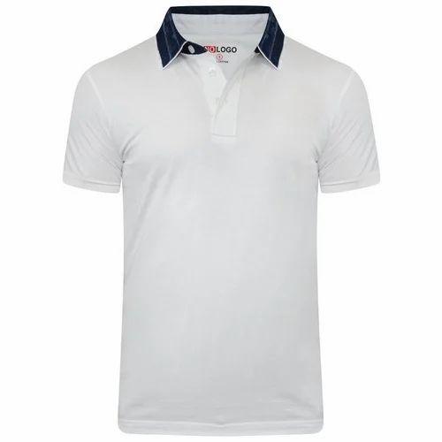 5c2613c0f Mens White Cotton Half Sleeves Plain Polo T Shirt