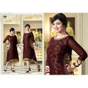 Ladies Brown Georgette Full Sleeve Designer Kurti