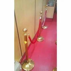 Brass Queue Barricade With Velvet Rope