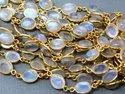Semi Precious Gemstones 22k Gold Plated 925 Sterling Silver Bezel Connector Chains