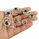 Garnet Gemstone Sterling Silver Bracelet